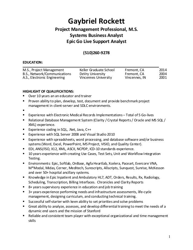 Epic Analyst Resume