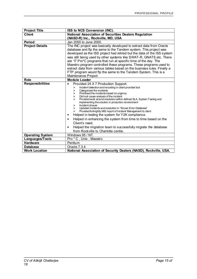 cv of abhijit chatterjee tcs confidential page 14 of 18 15 - Ncs Cv Builder