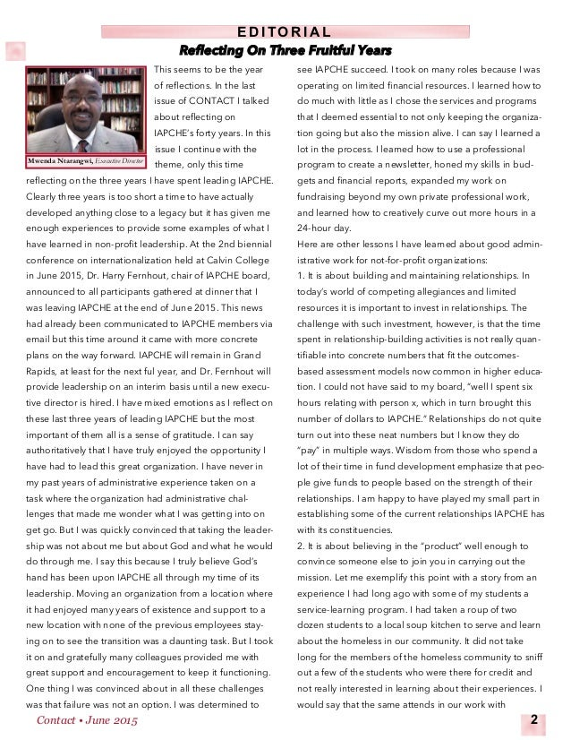 This seems to be the year of reflections. In the last issue of CONTACT I talked about reflecting on IAPCHE's forty years. ...
