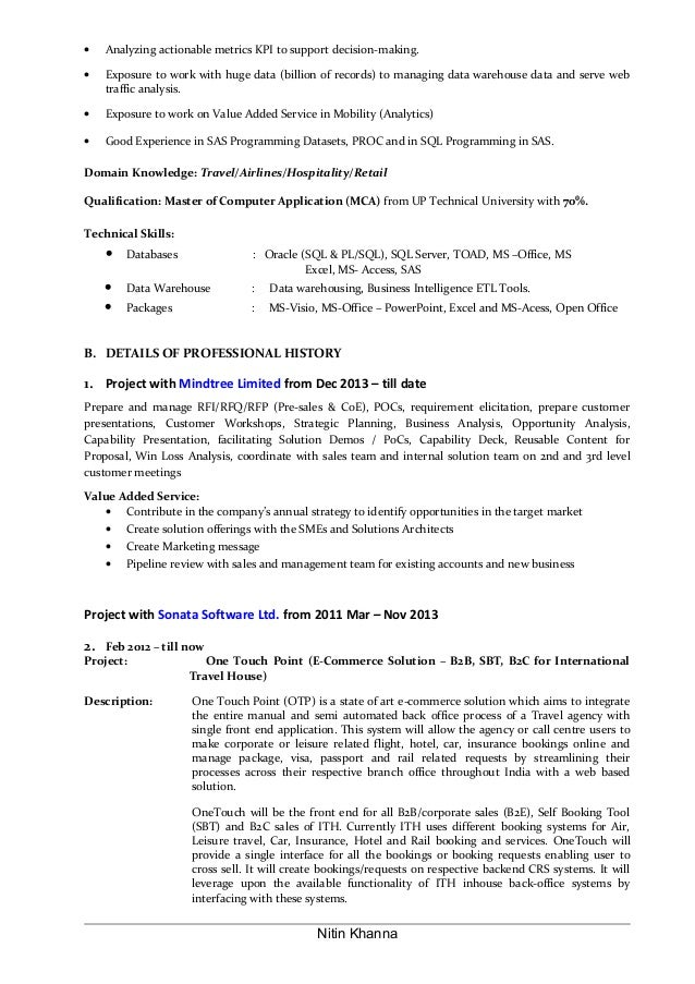 nitin khanna 2 - Sample Resume Business Analyst