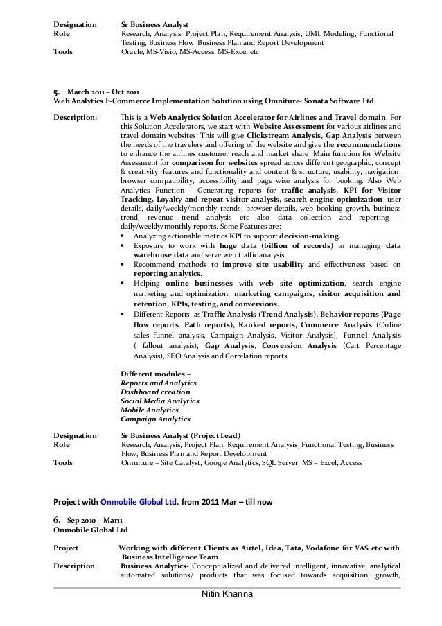 Nitin Khanna; 5. Designation Sr Business Analyst ...  Business Analytics Resume