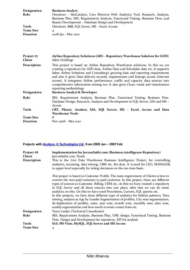 Business Analyst Resume Of Nitin Khanna