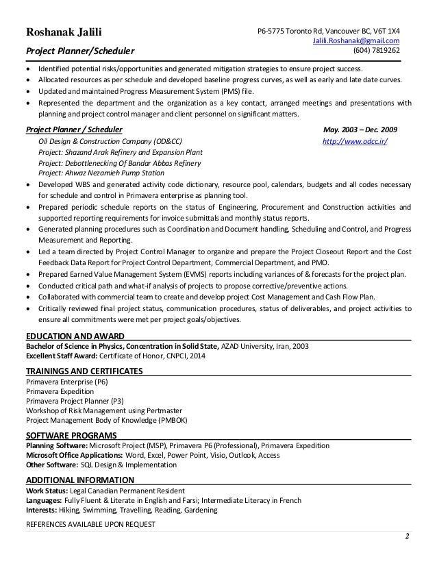 planner scheduler resume