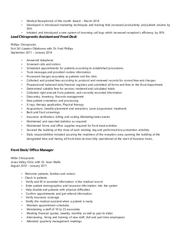 medical office receptionist cover letter