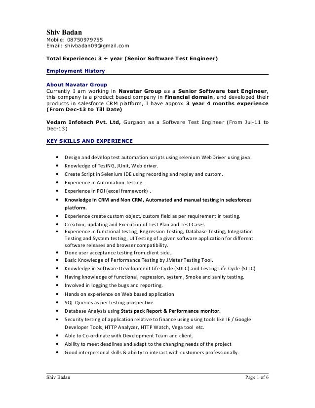 Software Testing 3 Years Experience Resume Gallery Resume Format