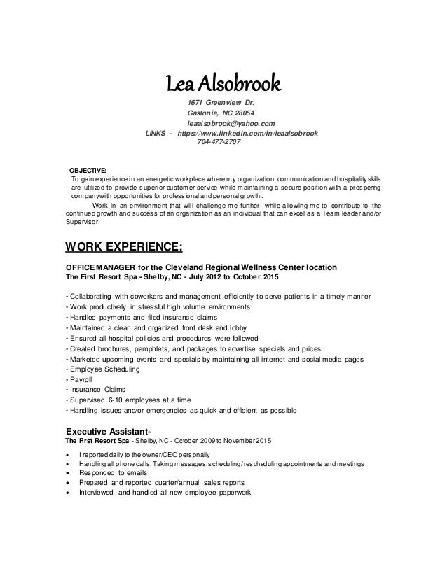 lea alsobrook indeed resume updated lea alsobrook 1671 greenview dr gastonia nc 28054 leaalsobrookyahoocom links - Indeed Resume