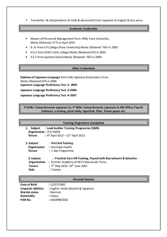 Excellent Resume In Hindi Translation Gallery - Examples ...