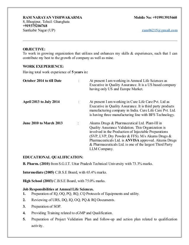resume for validation injectable