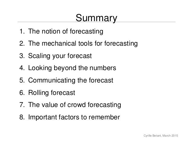 the art of forecasting Keywords: random forest, neural network, forecasting, simulation, vec-   practitioner, forecasting time series is rather a form of art than a.