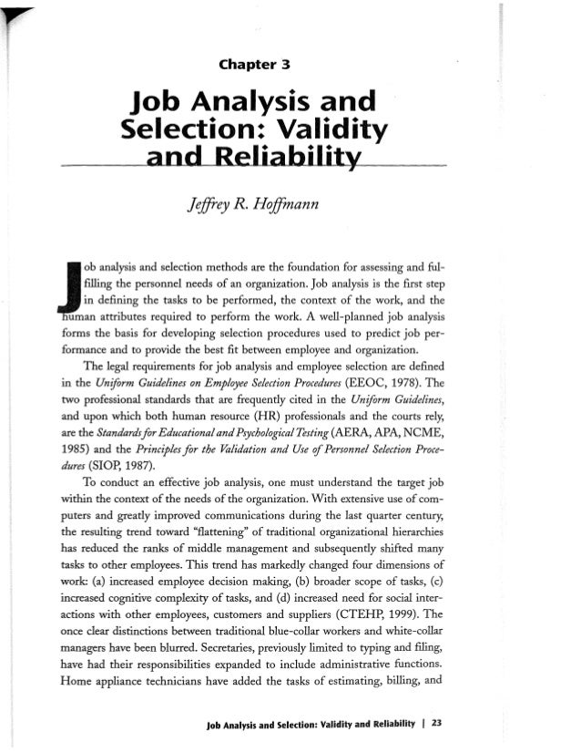 job analysis and selection validity and reliability ch effective  3 chapter 3 job analysis