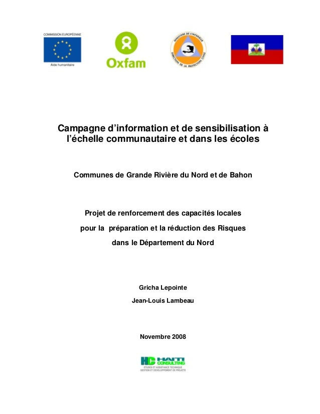 Campagne d'information et de sensibilisation à l'échelle communautaire et dans les écoles Communes de Grande Rivière du No...