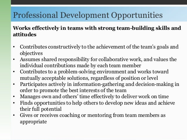 work with team members to identify opportunities for development and growth The team should identify what's in it for both the organization and the team  the risks needed for growth and development you can also challenge them .