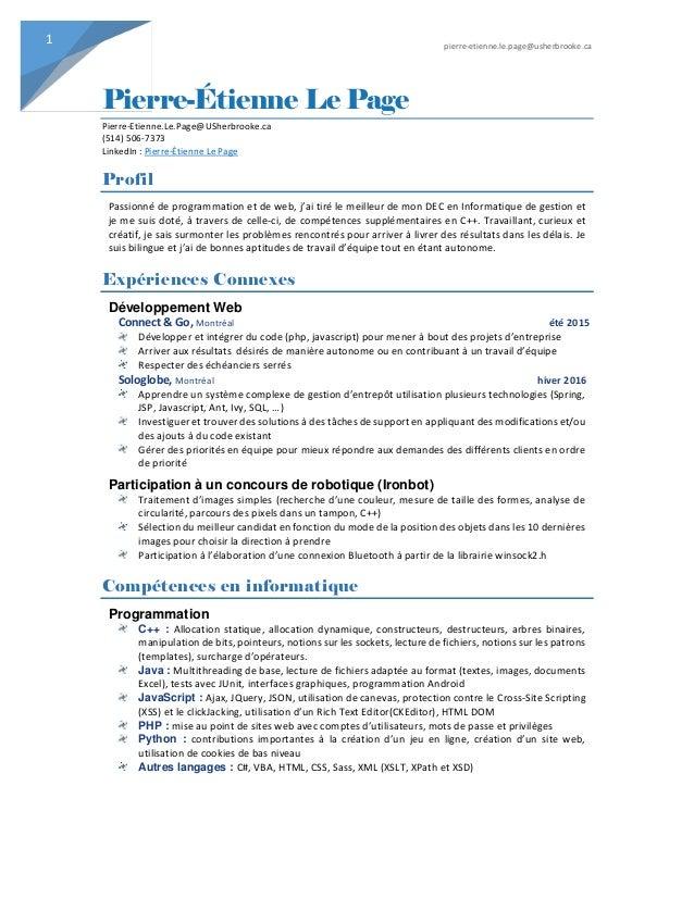 pierre-etienne.le.page@usherbrooke.ca 1 Pierre-Étienne Le Page Pierre-Etienne.Le.Page@USherbrooke.ca (514) 506-7373 Linked...