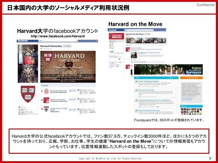 Confidential日本国内の大学のソーシャルメディア利用状況例                                                         Harvard on the Move Harvard大学のf...