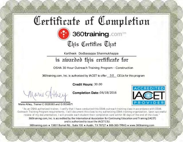 Osha 30 Certificate