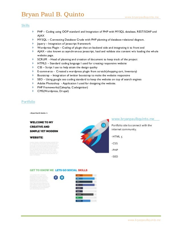 bryan paul b quinto senior web developer resume - Senior Web Developer Resume