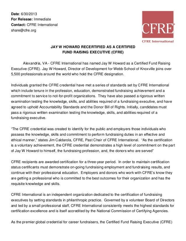 Cfre Press Release