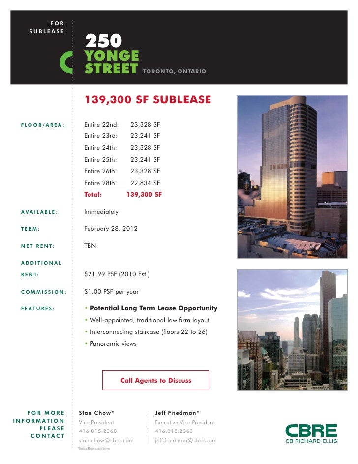 FOR       SUBLEASE                                250                               YONGE                               ST...