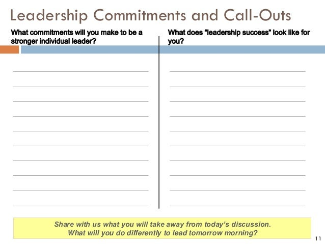 """11 Leadership Commitments and Call-Outs What does """"leadership success"""" look like for you? What commitments will you make t..."""