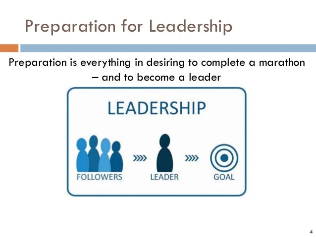 Preparation for Leadership 4 Preparation is everything in desiring to complete a marathon – and to become a leader