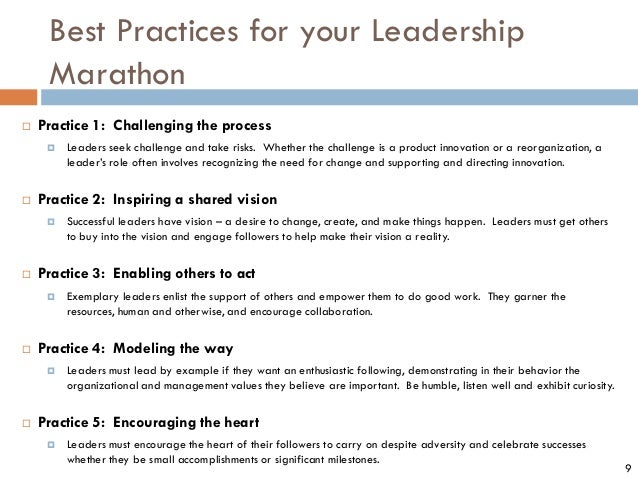 Best Practices for your Leadership Marathon  Practice 1: Challenging the process  Leaders seek challenge and take risks....