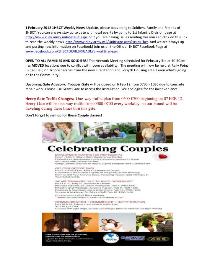 1 February 2012 1HBCT Weekly News Update, please pass along to Soldiers, Family and Friends of1HBCT. You can always stay u...