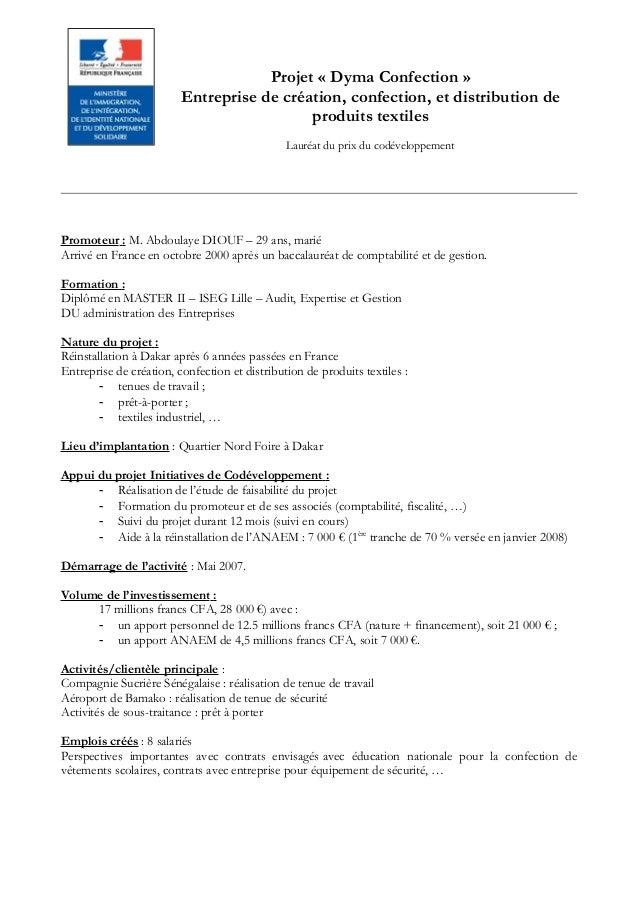 Projet « Dyma Confection » Entreprise de création, confection, et distribution de produits textiles Lauréat du prix du cod...