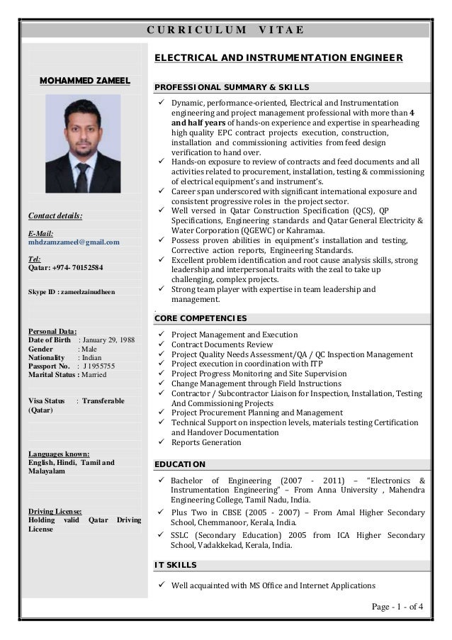 electrical and instrumentation engineer