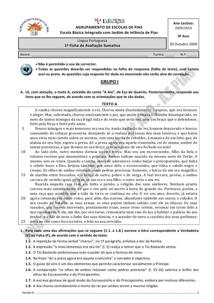Ano Lectivo:                                  AGRUPAMENTO DE ESCOLAS DE PIAS                                  2009/2010   ...