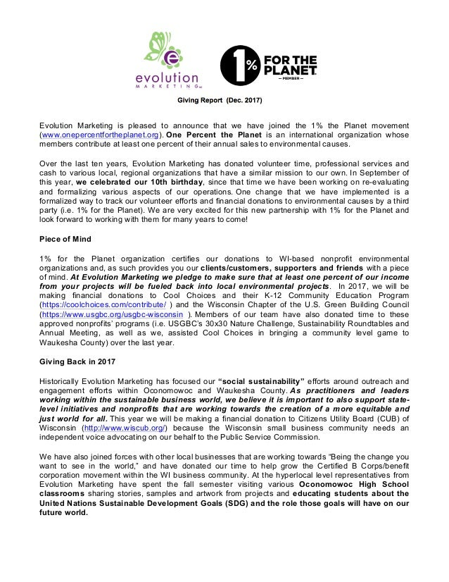 Evolution Marketing is pleased to announce that we have joined the 1% the Planet movement (www.onepercentfortheplanet.org)...