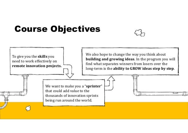 Course Objectives To give you the skillsyou need to work effectively on remoteinnovationprojects. We want to make you a...