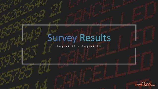 1 Survey Results A u g u s t 1 3 – A u g u s t 2 1