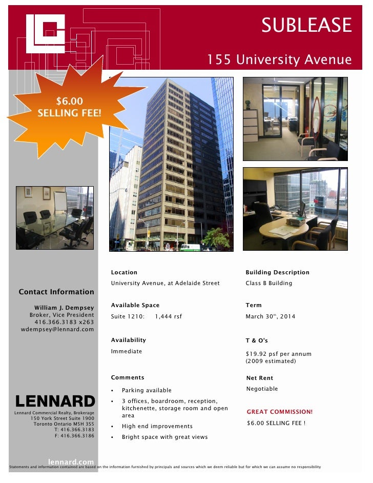 SUBLEASE                                                                                                            155 Un...