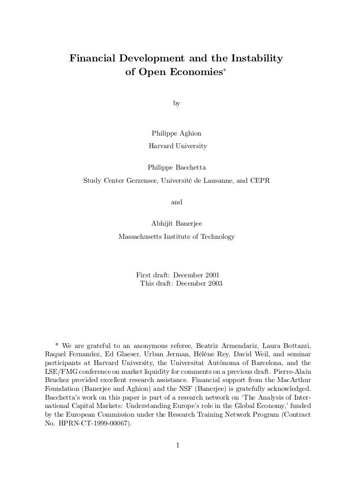Financial Development and the Instability                  of Open Economies                                         by   ...