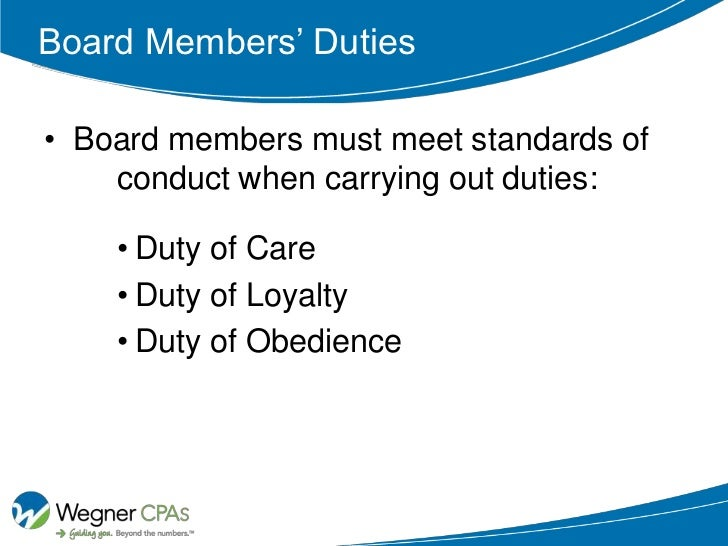 Financial Responsibilities Of Board Members