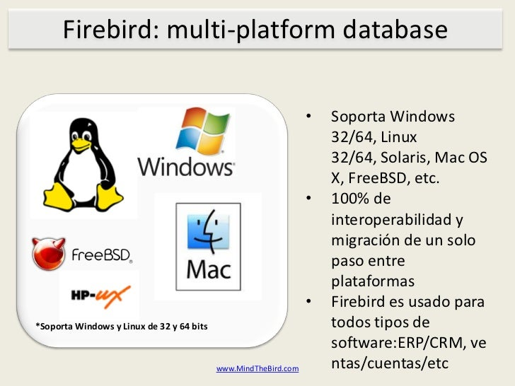 Firebird: multi-platform database<br /><ul><li>Soporta Windows 32/64, Linux 32/64, Solaris, Mac OS X, FreeBSD, etc.