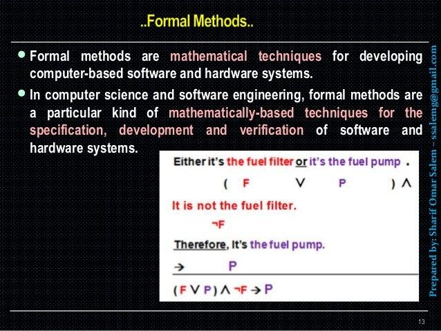 The formal methodologies in software engineering