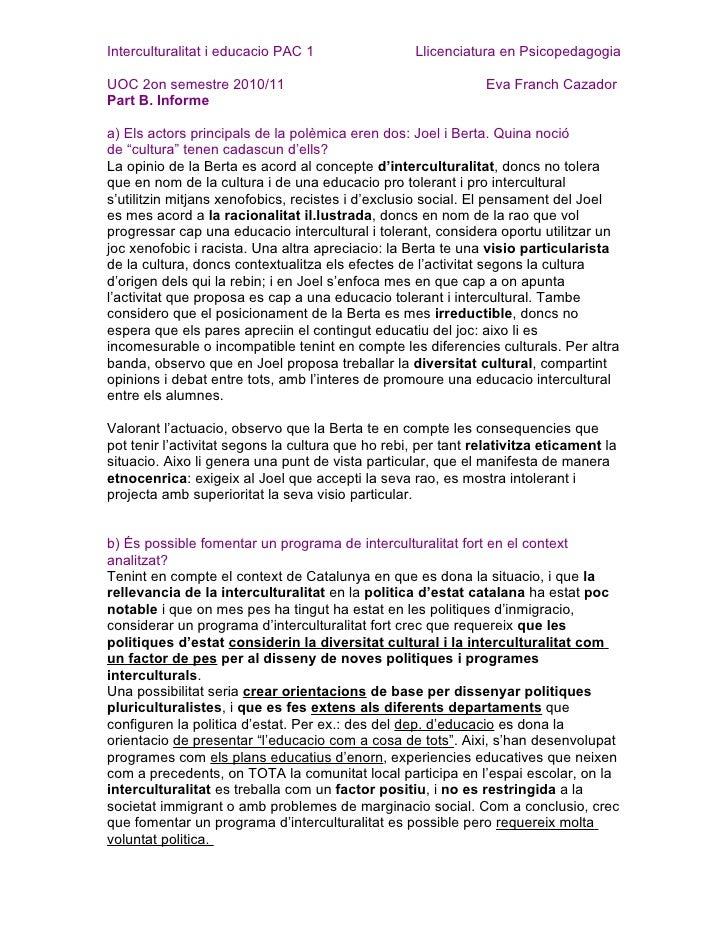 PAC 1 Interculturalitat i educacio UOC Eva Franch
