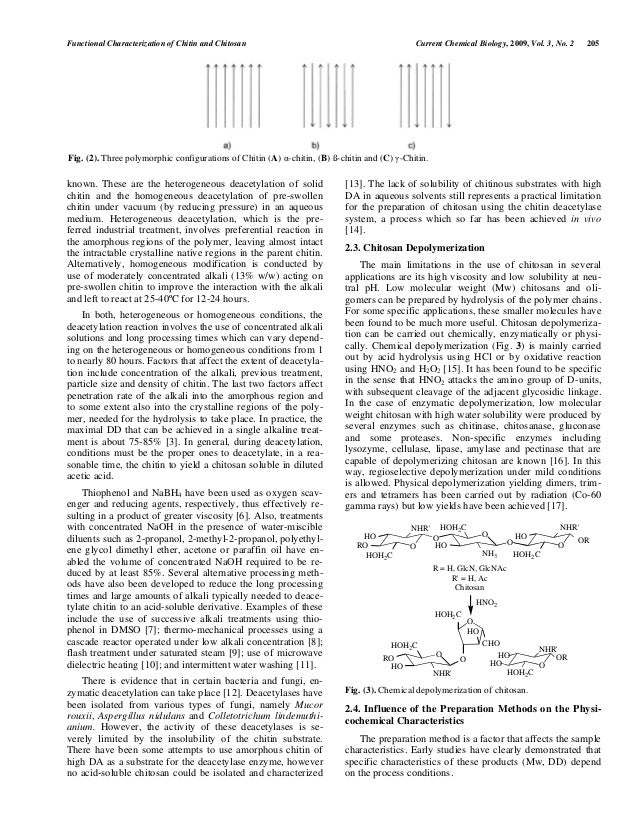 functional characterization of chitin and chitosan The type and quality of chitin and chitosan varies with different source, though different concentration of wide range of acid and alkai are used to extract chitin and chitosan from shell waste [13] nguyen van toan [28] reported that the chitin and chitosan produced with 3% hcl for demineralisation, 4% naoh for deprotenisation and 50% naoh for.