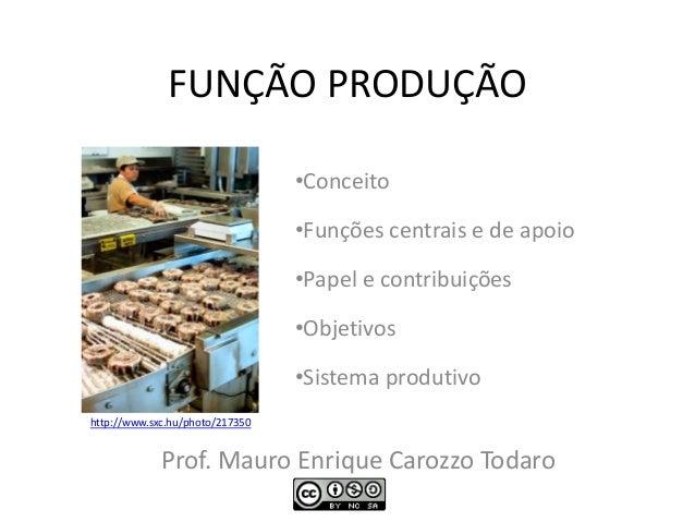 FUNÇÃO PRODUÇÃO •Conceito •Funções centrais e de apoio •Papel e contribuições •Objetivos •Sistema produtivo Prof. Dr. Maur...