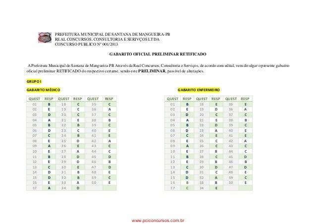 PREFEITURA MUNICIPAL DE SANTANA DE MANGUEIRA-PB REAL CONCURSOS, CONSULTORIA E SERIVÇOS LTDA CONCURSO PUBLICO Nº 001/2013 G...