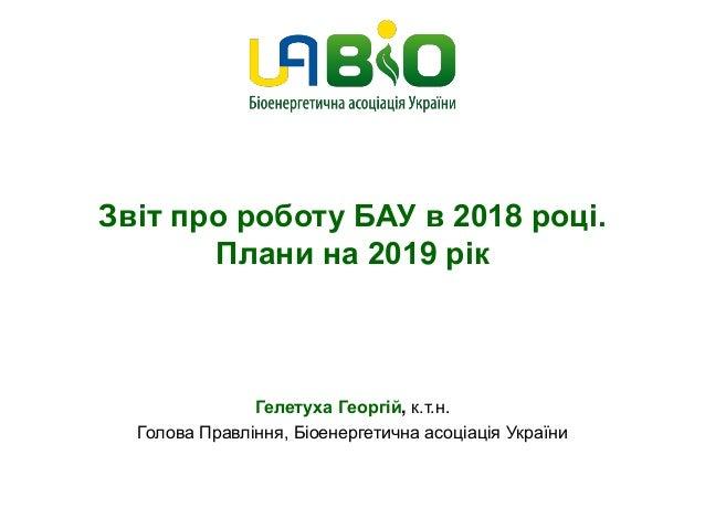 Звіт про роботу БАУ в 2018 році. Плани на 2019 рік Гелетуха Георгій, к.т.н. Голова Правління, Біоенергетична асоціація Укр...
