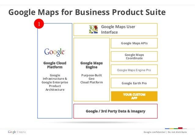Google Maps Engine Purpose-Built Geo Cloud Platform Google / 3rd Party Data & Imagery YOUR CUSTOM APP Google Cloud Platfor...