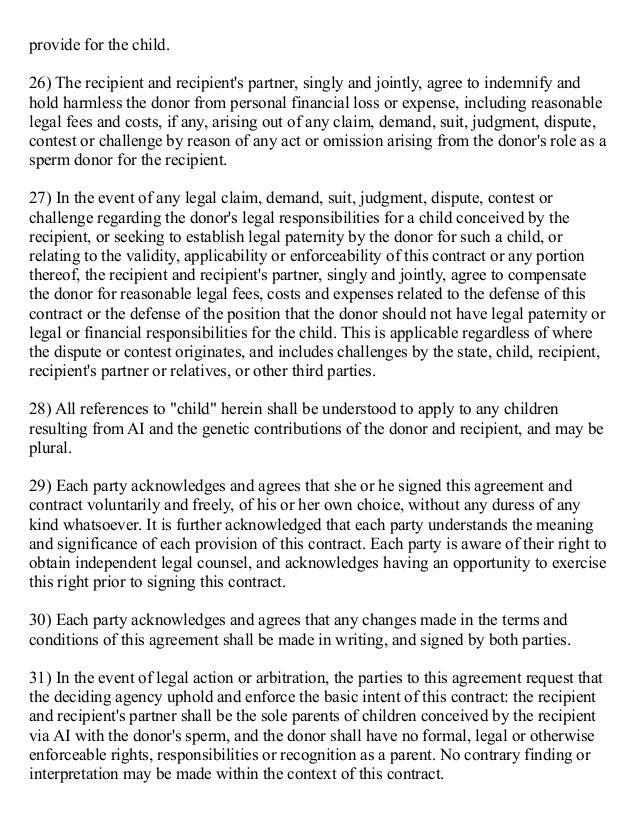 3 Party Sperm Donor Agreement