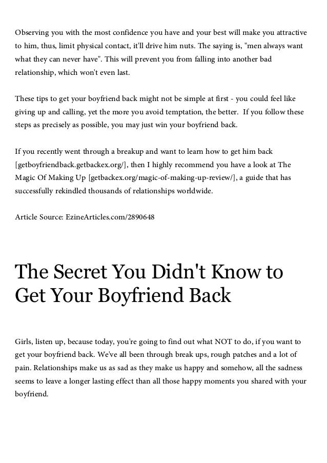 Get my boyfriend back, 5 sneaky tactics to get your