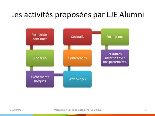 Agenda 2014-2015  LJE Alumni  Présentation soirée de lancement - 09.10.2014  8  Mois  Jour  Activité  octobre 2014  jeudi ...