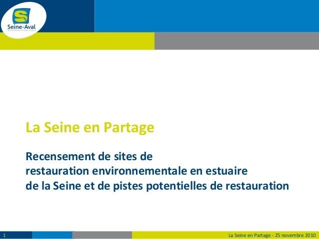 Recensement de sites de restauration environnementale en estuaire de la Seine et de pistes potentielles de restauration La...
