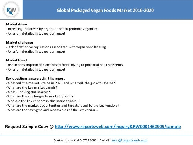 Packaged Vegan Foods Market Global Trends 2020