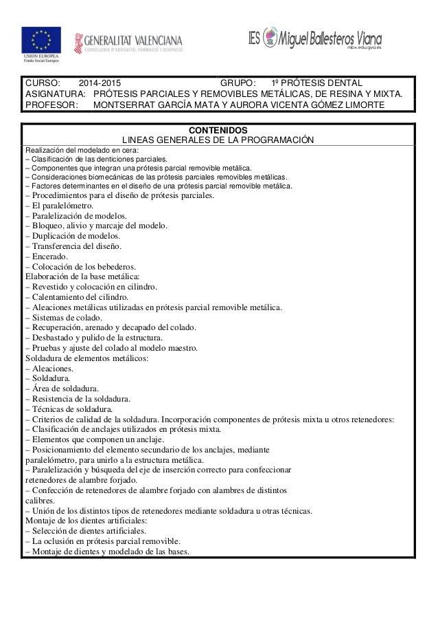 CURSO: 2014-2015 GRUPO: 1º PRÓTESIS DENTAL ASIGNATURA: PRÓTESIS PARCIALES Y REMOVIBLES METÁLICAS, DE RESINA Y MIXTA. PROFE...