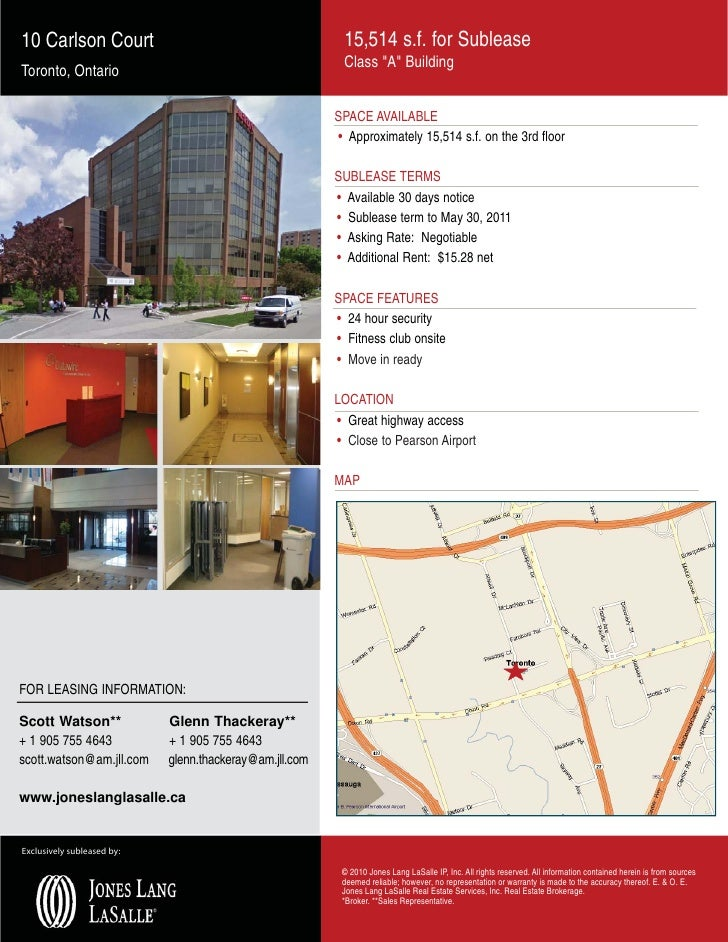 10 Carlson Court                                          15,514 s.f. for Sublease                                        ...